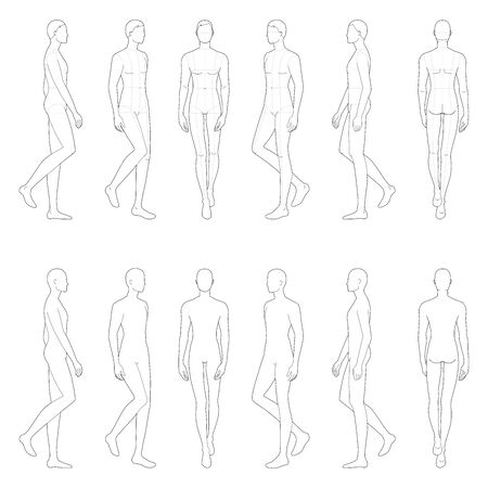 Fashion template of 12 walking men. 9 head size for technical drawing with and without main lines. Gentlemen figure front, side, 3-4 and back view. Vector boy for fashion sketching and illustration. Vectores