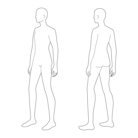 Fashion template of standing men. 9 head size for technical drawing. Gentlemen figure 3-4 front and back view. Vector outline boy for fashion sketching and illustration.