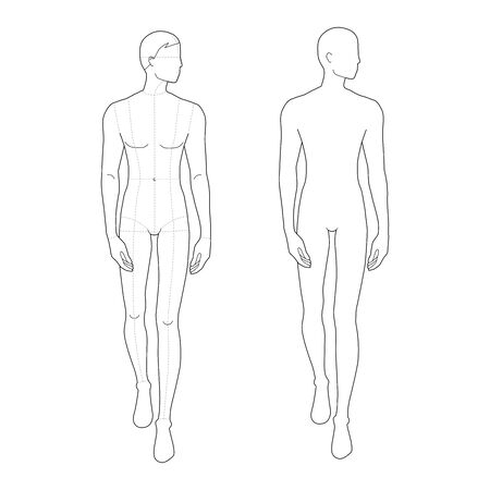 Fashion template of walking men. 9 head size for technical drawing with and without main lines. Gentlemen figure front and back view. Vector outline boy for fashion sketching and illustration.