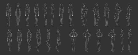 Fashion template of 25 women in different poses with main lines. 9 head size for technical drawing. Lady figure front, side, 3-4 and back view. Vector girl for fashion sketching and illustration.