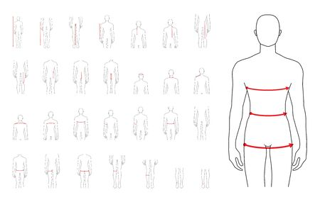 Men to do body measurement fashion Illustration for size chart 29 piece set. 7.5 head size boy for site or online shop. Human body infographic template for clothes.