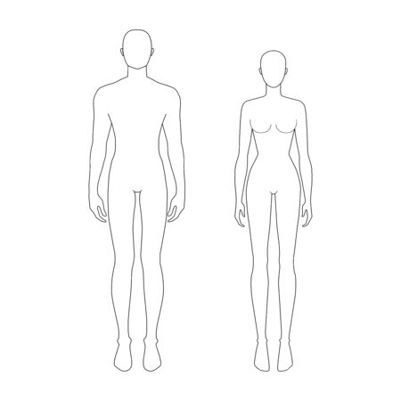 Fashion template of women and men. 7.5 head real size for technical drawing. Gentlemen and lady figure view. Vector outline boy and girl for fashion sketching and illustration.