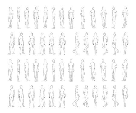 Fashion template of standing men. 9 head size for technical drawing with and without main lines. Gentlemen figure front, side and back view. Vector outline boy for fashion sketching and illustration.
