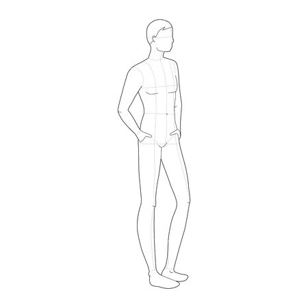 Fashion template of relaxing stand men. 9 head size for technical drawing with and without main lines. Gentlemen figure front and back view. Vector outline boy for fashion sketching and illustration.