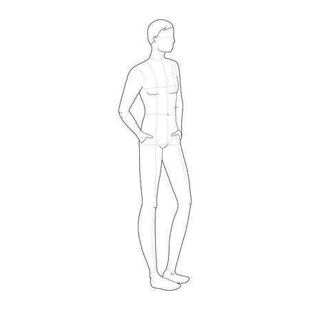 Modèle de mode des hommes de stand de détente. Taille de tête 9 pour le dessin technique avec et sans lignes principales. Messieurs figure vue avant et arrière. Garçon de contour vectoriel pour le dessin de mode et l'illustration.