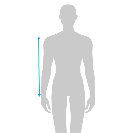 Men to do sleeve length measurement fashion Illustration for size chart. 7.5 head size boy for site or online shop. Human body infographic template for clothes. Vectores