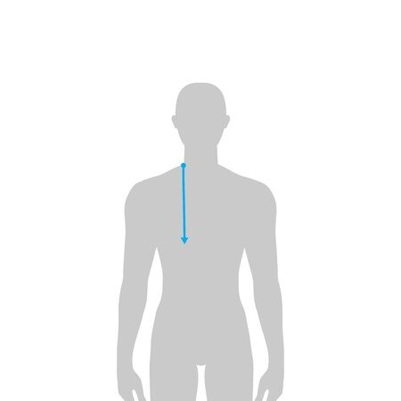 Men to do armscye depth measurement fashion Illustration for size chart. 7.5 head size boy for site or online shop. Human body infographic template for clothes.