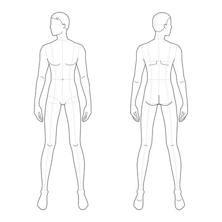 Fashion template of standing men. 9 head size for technical drawing with and without main lines. Gentlemen figure front and back view. Vector outline boy for fashion sketching and illustration. Vectores