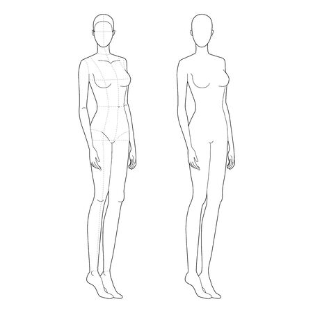 Fashion template of standing women with and without main lines. 9 head size for technical drawing. Lady figure front and back view. Vector outline girl for fashion sketching and illustration.