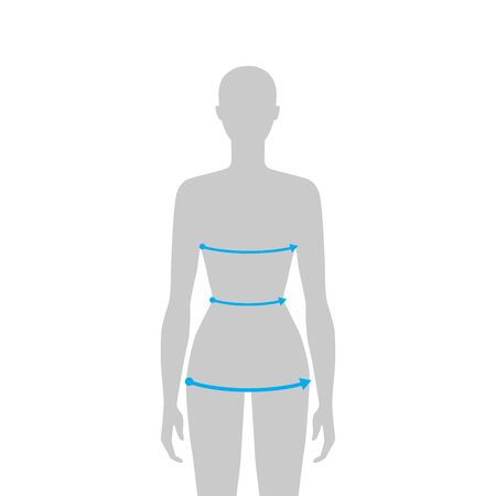 Women to do body measurement fashion Illustration for size chart. 7.5 head size girl for site or online shop. Human body infographic template for clothes.