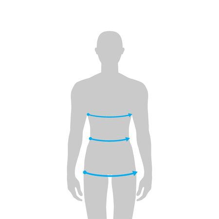Men to do body measurement fashion Illustration for size chart. 7.5 head size boy for site or online shop. Human body infographic template for clothes.