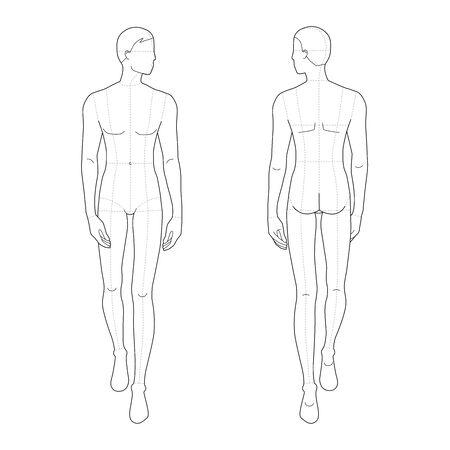 Modevorlage für gehende Männer. 9 Kopfgröße für technisches Zeichnen mit und ohne Hauptlinien. Herrenfigur Vorder- und Rückansicht. Vektorentwurfsjunge für das Skizzieren und die Illustration der Mode. Vektorgrafik