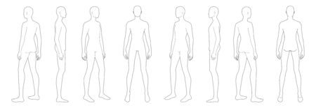 Fashion template of standing men. 9 head size for technical drawing. Gentlemen figure front, side, 3-4 and back view. Vector outline boy for fashion sketching and illustration.