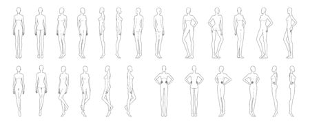 Fashion template of 25 women in different poses. 9 head size for technical drawing. Lady figure front, side, 3-4 and back view. Vector outline girl for fashion sketching and illustration. Vectores