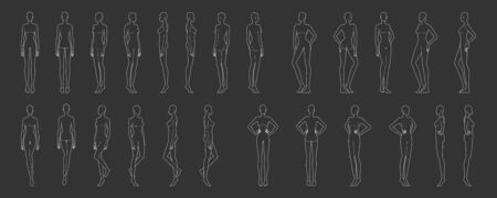 Fashion template of 25 women in different poses women. 9 head size for technical drawing. Lady figure front, side, 3-4 and back view. Vector outline girl for fashion sketching and illustration. Vectores