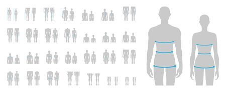 Women and men to do body measurement fashion Illustration for size chart 58 piece set. 7.5 head size girl and boy for site or online shop. Human body infographic template for clothes.