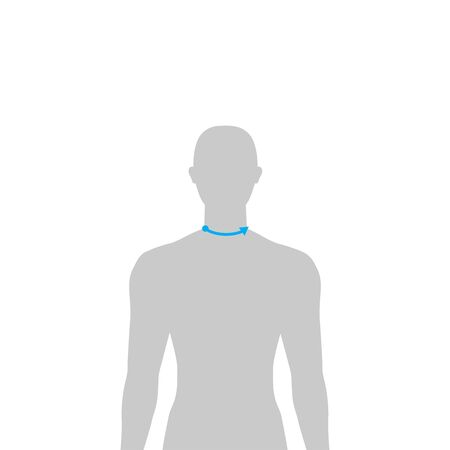 Men to do neck size measurement fashion Illustration for size chart. 7.5 head size boy for site or online shop. Human body infographic template for clothes.