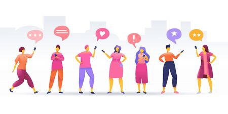 Social Network, stay connected, people connecting all over the world, Young People Characters Chatting, online community, for web page, banner, presentation, social media, vector illustration.