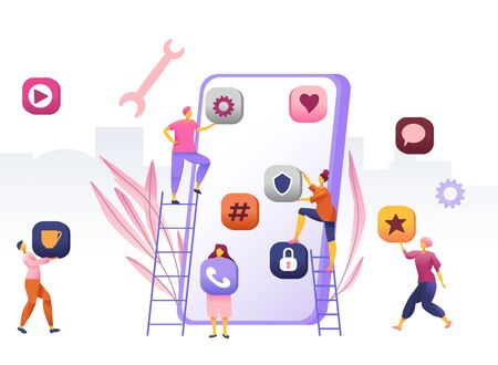 Business People Creative Team Putting App Icons on Huge Smartphone Screen. Designers Develop Application for Mobile Phone, Busy Working Process, Cooperation, Teamwork. Cartoon Flat Vector Illustration Vectores