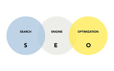 SEO analysis in circles on white background. Abstract flat vector. Business vision and strategy layout. Infographic for concept design, presentation and data chart. Vectores