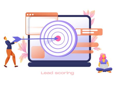Businessman leader with huge target and woman, teamwork, vector flat style design illustration. Victory, goal achievement, reach target, business team success, targeting.