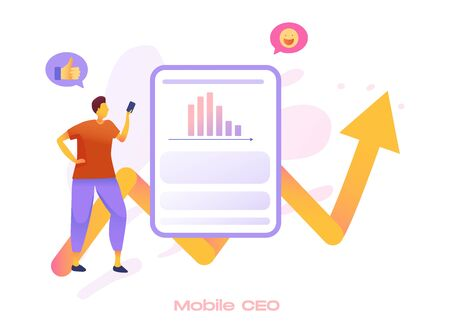 Mobile SEO icon for search engine optimization service. Market analytics, customer feedback analysis. Local SEO, reputation management, mobile SEO metaphors.Vector flat 3d style design illustration. Vectores