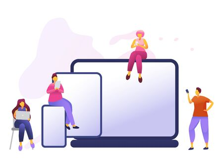 Cartoon icon with social media communication characters. that chat in phone, tablet, notebook with text babble. Flat 3D vector isolated metaphor illustration for site, app or wed page.