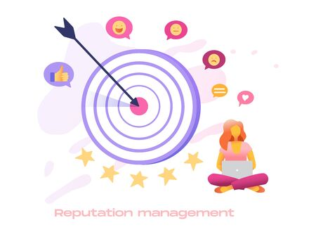 Reputation management icon set for search engine optimization service. Businesswomen leader with huge target, teamwork, vector flat 3d style design illustration. Reach target, business team success. Vectores
