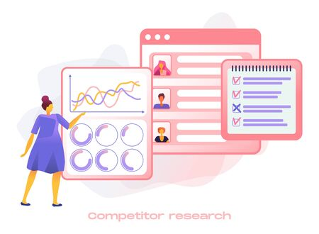 Cartoon icon with competitor research marketing business for SMM analytics, audience segmentation. Product advertising strategy development with characters. 3d flat style infographic illustration. Vectores