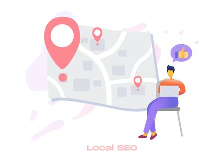Local SEO icon for search engine optimization service. Market analytics, customer feedback analysis. Local SEO, reputation management, mobile SEO metaphors.Vector flat 3d style design illustration.