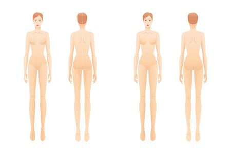 Fashion template of standing women with and without main lines. 9 head size croquis for technical drawing. Lady figure front and back view. Vector outline girl for fashion sketching and illustration. Vecteurs