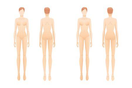 Modevorlage von stehenden Frauen mit und ohne Hauptlinien. 9 Kopfgrößen-Croquis für technisches Zeichnen. Damenfigur Vorder- und Rückansicht. Vektorentwurfsmädchen zum Skizzieren und zur Illustration.