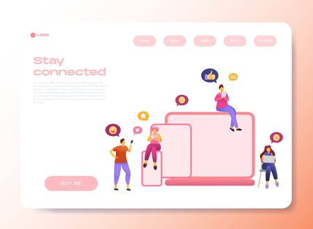 Web page template with social media communication characters, that chat in phone, tablet, notebook with text babble. Flat 3D vector isolated metaphor illustration for site, app or wed page.