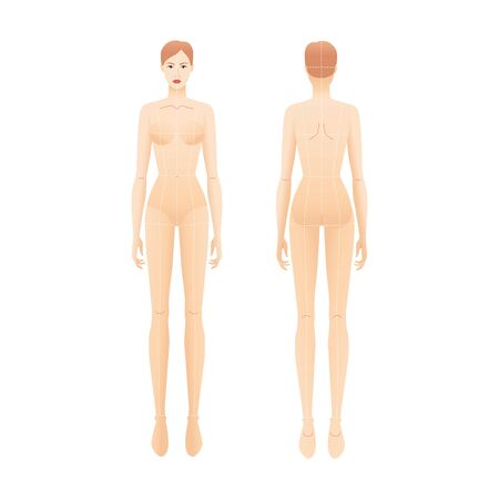 Fashion template of nude standing women with main lines. 9 head size croquis for technical drawing. Lady figure naked front and back view. Vector outline girl for fashion sketching and illustration.