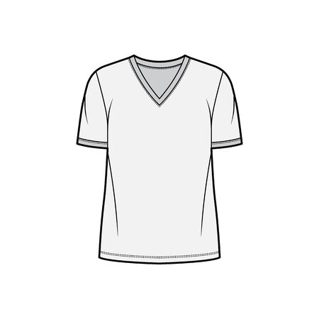 T-shirt technical fashion illustration with V neck, fitted tunic length oversized body short sleeves, flat. Apparel template front, grey color. Women and men unisex garment mockup for designer.