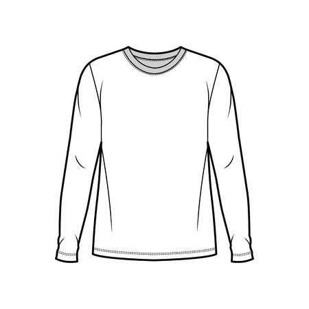 Cotton jersey top technical fashion illustration with crew neck, tunic length oversized body long sleeves flat. Apparel template front, white color. Women and men unisex garment mockup for designer. Illustration