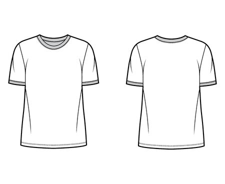 T-shirt technical fashion illustration with crew neck, fitted oversized body short sleeves, flat style. Apparel template front and back white color. Women and men unisex garment mockup for designer.