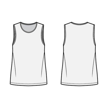 T-shirt technical fashion illustration with crew neck, fitted oversized body sleeveless, flat style. Apparel template front and back grey color. Women and men unisex garment mockup for designer. Illustration