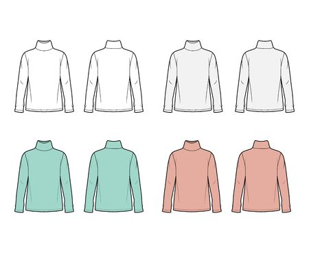 Cotton jersey top technical fashion illustration set with turtleneck, oversized body long sleeves flat. Apparel template front back white and trendy color. Women men unisex garment mockup for designer