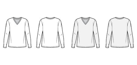 Cotton jersey top technical fashion illustration set with V neck, oversized body long sleeves flat. Apparel template front back white and grey color. Women, men unisex garment mockup for designer