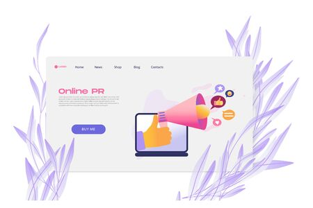 Flat cartoon icon with online PR business landing page template for concept design with characters. Pink purple style with flowers infographic metaphor illustration with notebook, likes, speaker, horn