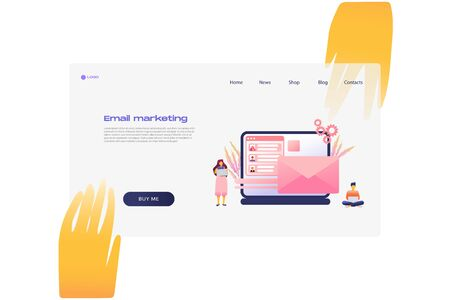 Flat cartoon icon with email marketing business landing page template for concept design with characters. Pink purple style with hands infographic metaphor illustration with notebook, CRM, flowers