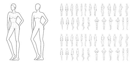 Fashion template of 50 women in different poses with main lines. 9 head size for technical drawing. Lady figure front, side, 3-4 and back view. Vector girls for fashion sketching and illustration. Illustration
