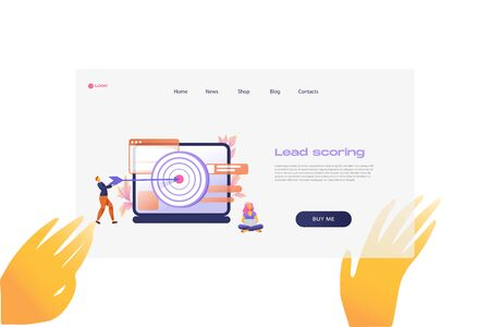 Flat cartoon icon with lead scoring landing page template for concept design with characters. Pink purple style with hands infographic metaphor illustration with notebook, windows, flowers, target