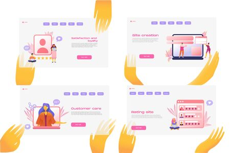Flat cartoon icon set with email marketing business landing page template for concept design with characters. Pink purple style with hands infographic metaphor illustration. Satisfaction and loyalty.