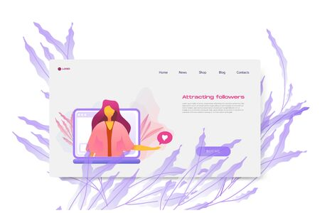 Flat cartoon icon with attracting followers business landing page template for concept design with characters. Pink purple style with flowers infographic metaphor illustration with notebook, flowers