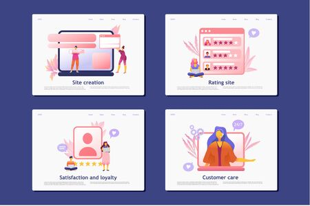 Flat cartoon icon set with email marketing business landing page template for concept design with characters. Pink purple style infographic metaphor illustration. Online PR, Attracting followers