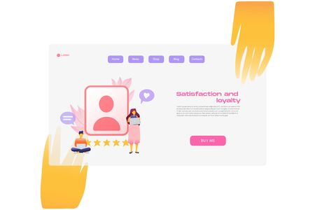 Flat cartoon icon with satisfaction and loyalty business landing page template for concept design with characters. Pink purple style with hands infographic metaphor illustration with CRM, likes