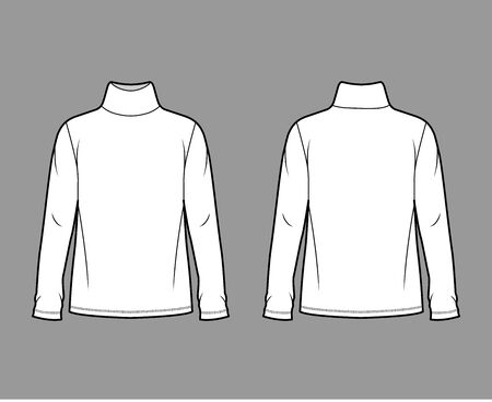 Cotton jersey top technical fashion illustration with turtleneck, tunic length oversized body long sleeves flat. Apparel template front back white color. Women, men unisex garment mockup for designer Illustration