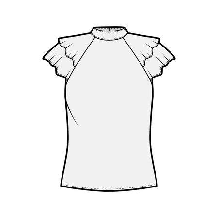 Blouse technical fashion illustration with high neckline banded collar, fluttery ruffles short sleeves, loose fitted body. Flat apparel template front grey color. Women men unisex CAD garment mockup